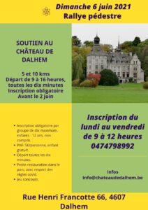 Feuillet d'invitation pour le rally pedestre du 6 juin au chateau de dalhem