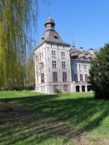 de hoofdtoren van het kasteel gezien vanuit het park